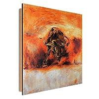Feeby Pannelli Decorativi Pareti TORO Deco Panel Quadro, Dimensione: 80x80 cm, ANIMALI NATURA ROSSO
