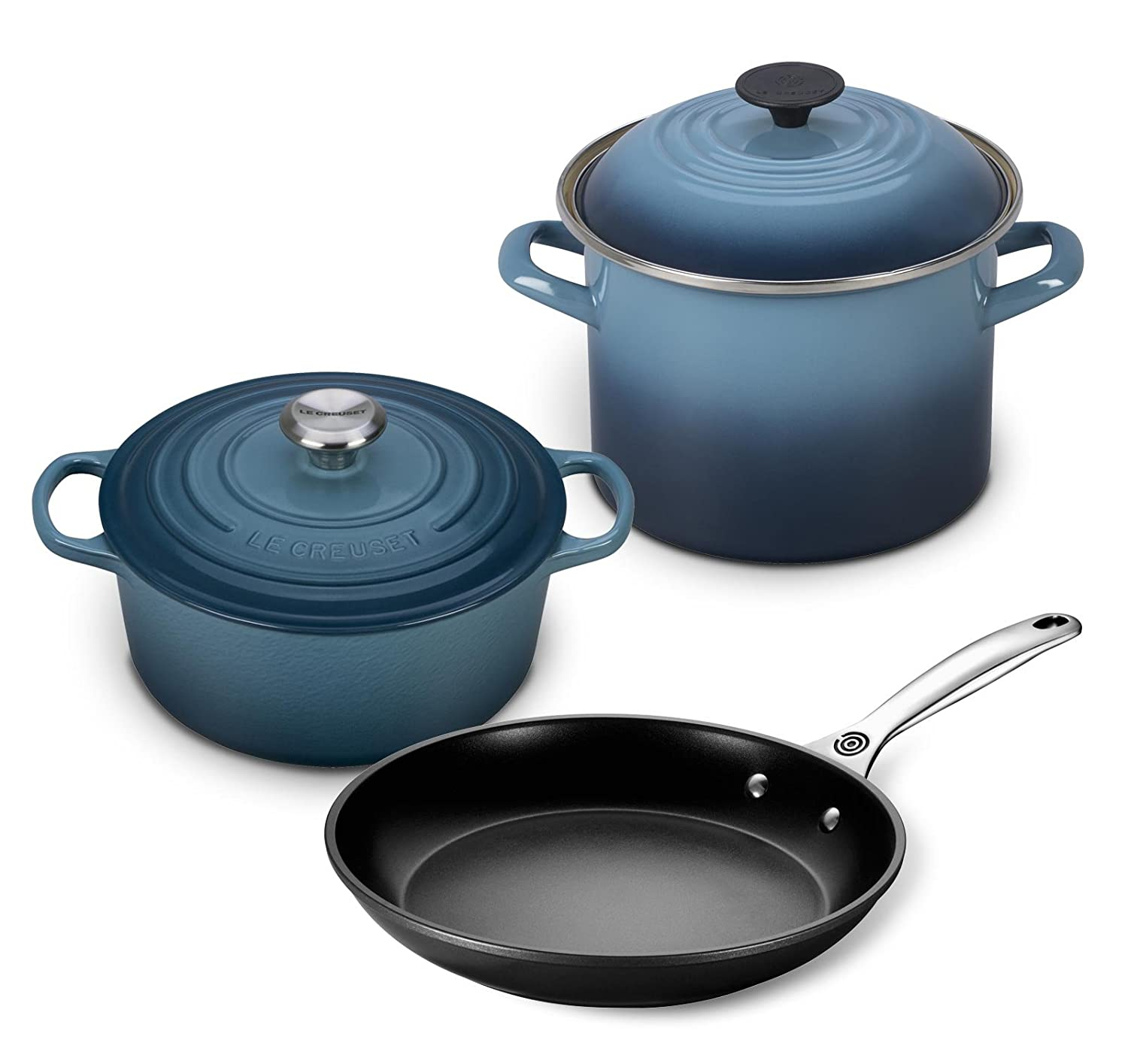Le Creuset 5pc Oven and Stovetop Cookware Set (4.5-Quart Round Dutch Oven, 6-Quart Covered Stockpot, 10-Inch Toughened Nonstick Fry Pan) - Marine