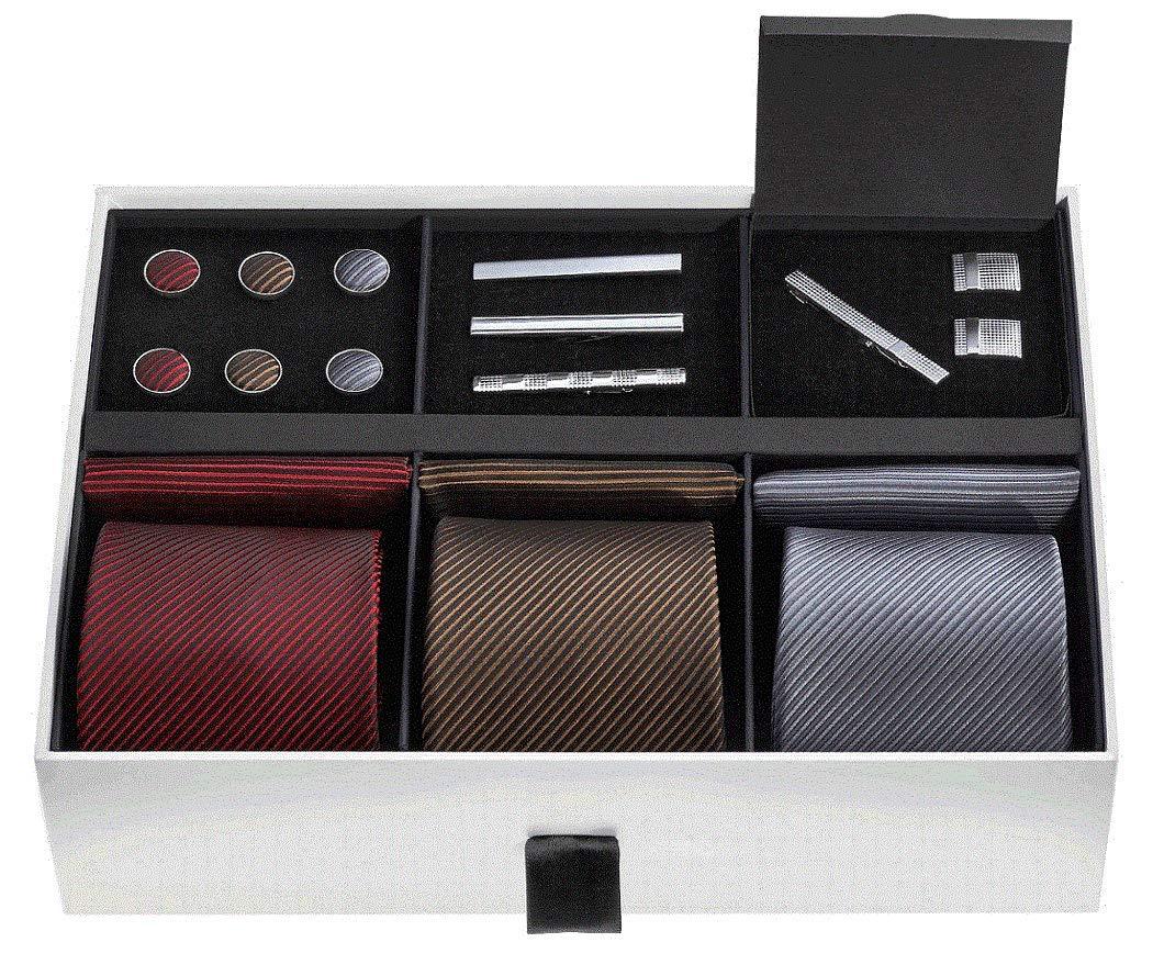 Premium Men's Gift Tie Set - Silky Necktie Pocket Squares Tie Clips Cufflinks For Men by TAVATO
