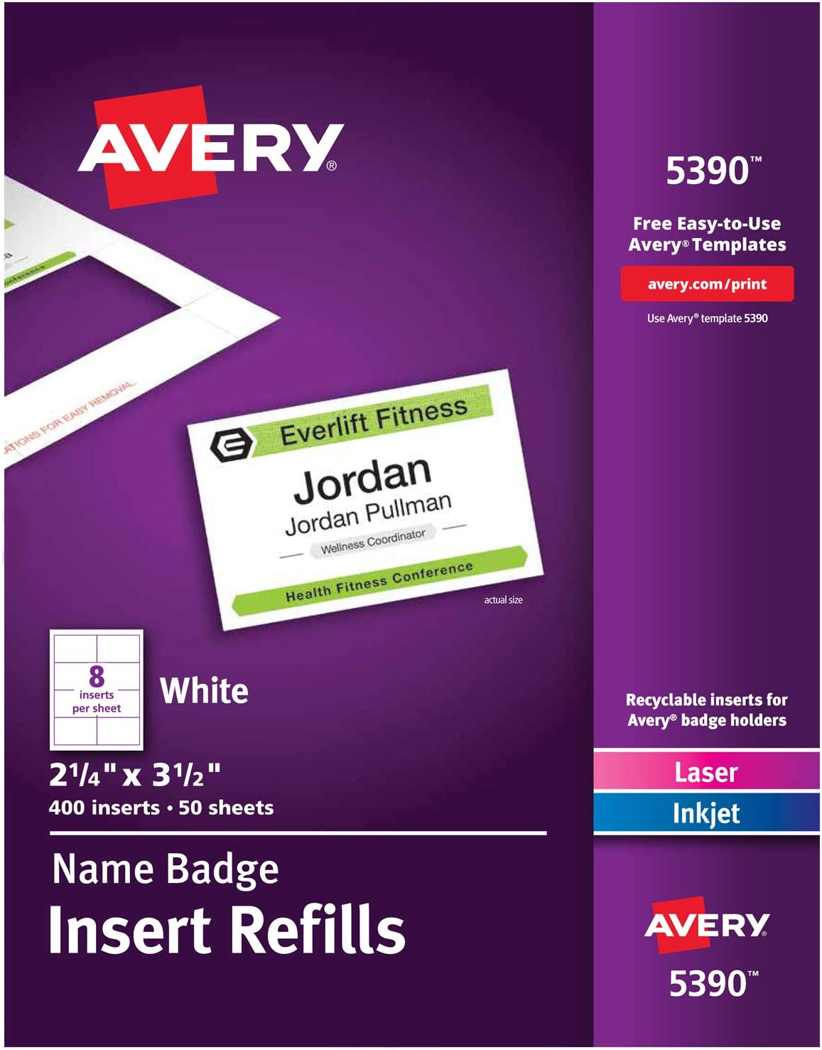 B00007LVDL Avery Name Badge Inserts, Print or Write, 2-1/4 Inch x 3-1/2 Inch, 400 Card Stock Refills (5390), White 71pOaBuLLfL