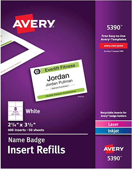 Amazon.com: Avery 5392 - Insignias para nombre (3.0 x 4.0 in ...
