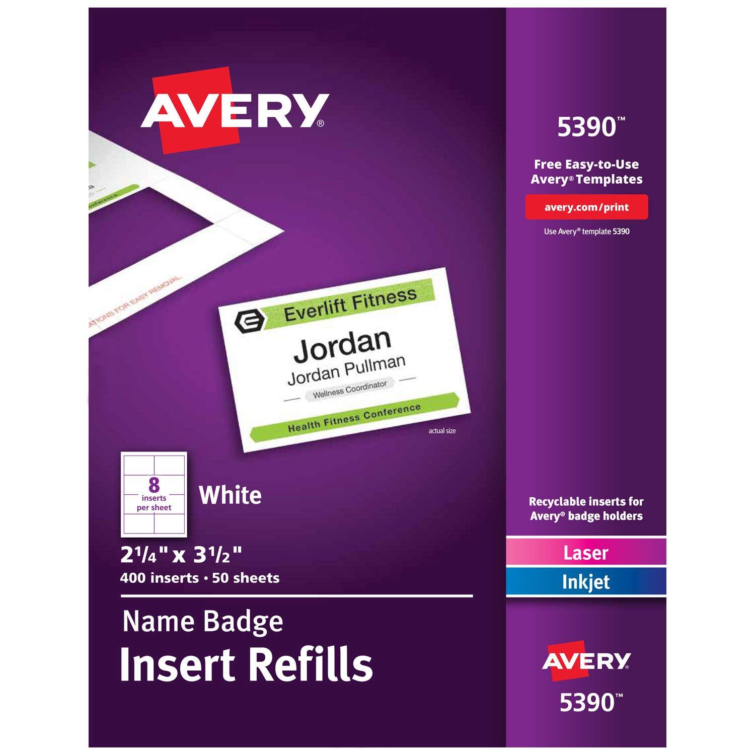 Avery Name Badge Inserts, Print or Write, 2-1/4'' x 3-1/2'', 400 Cardstock Refills (5390)