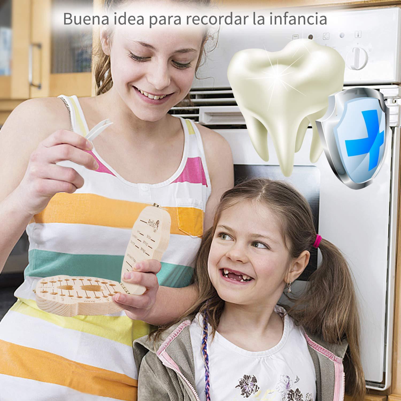 GVOO Caja de Dientes para Ni/ños,Cajitas para Dientes de Leche,Caja de Madera para Guardar Dientes(Ni/ño)