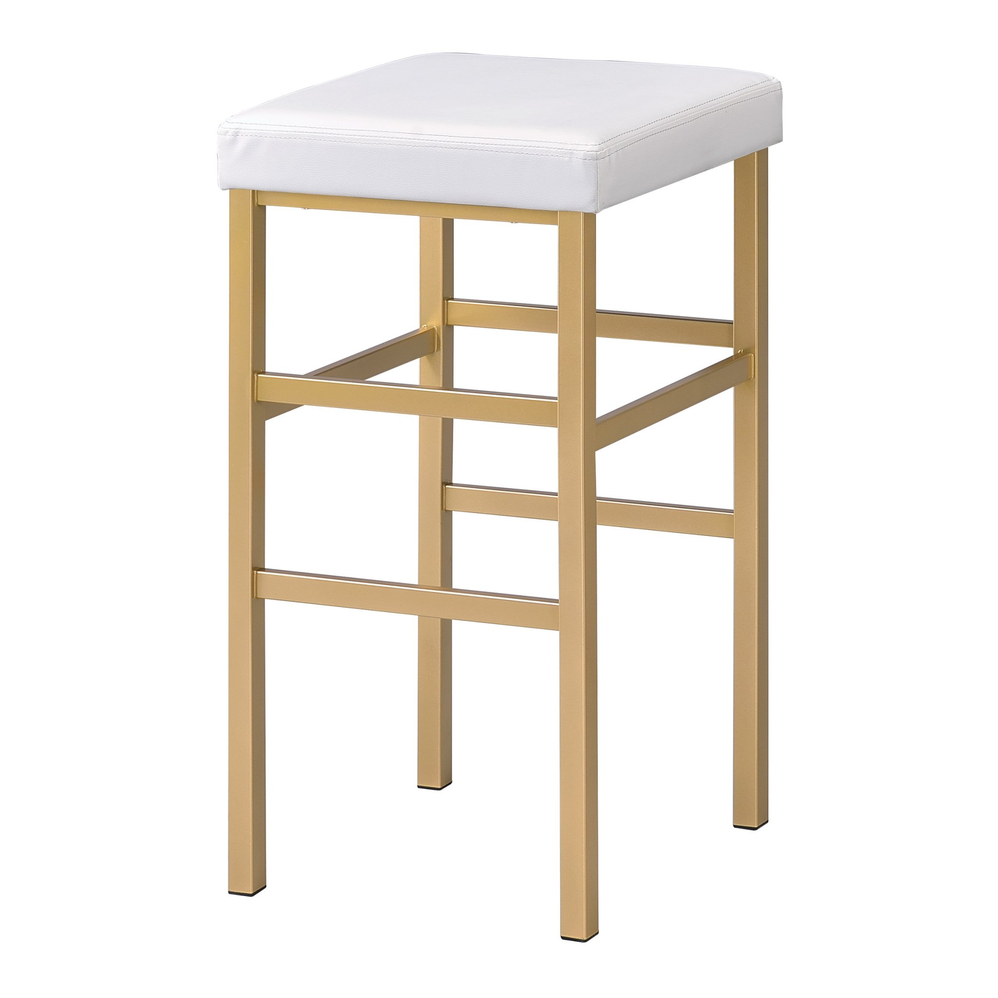 Office Star Backless Stool with Gold Frame, 30-Inch, White by OSP Designs