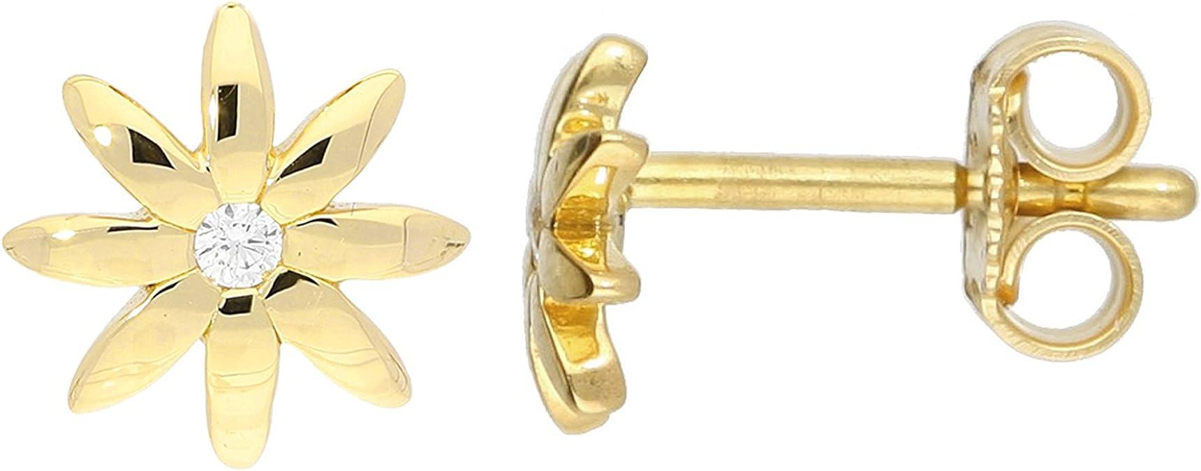 Ohrstecker Edelstahl feine Blüten Sonne ein Paar filigrane Gold Ohrringe