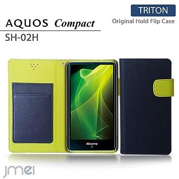 88c9c432b3 AQUOS Compact SH-02H ケース jmeiオリジナルホールドフリップケース TRITON ネイビー docomo ドコモ アクオス