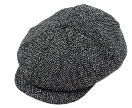 d07d4d2740d John Hanly Irish Hats for Men Blinder Hat Wool Charcoal Herringbone Made in  Ireland Small