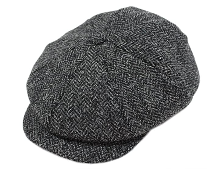 1940s Mens Hats | Fedora, Homburg, Pork Pie Hats Biddy Murphy Irish Tweed Caps 100% Wool Charcoal Herringbone Made in Ireland $84.99 AT vintagedancer.com