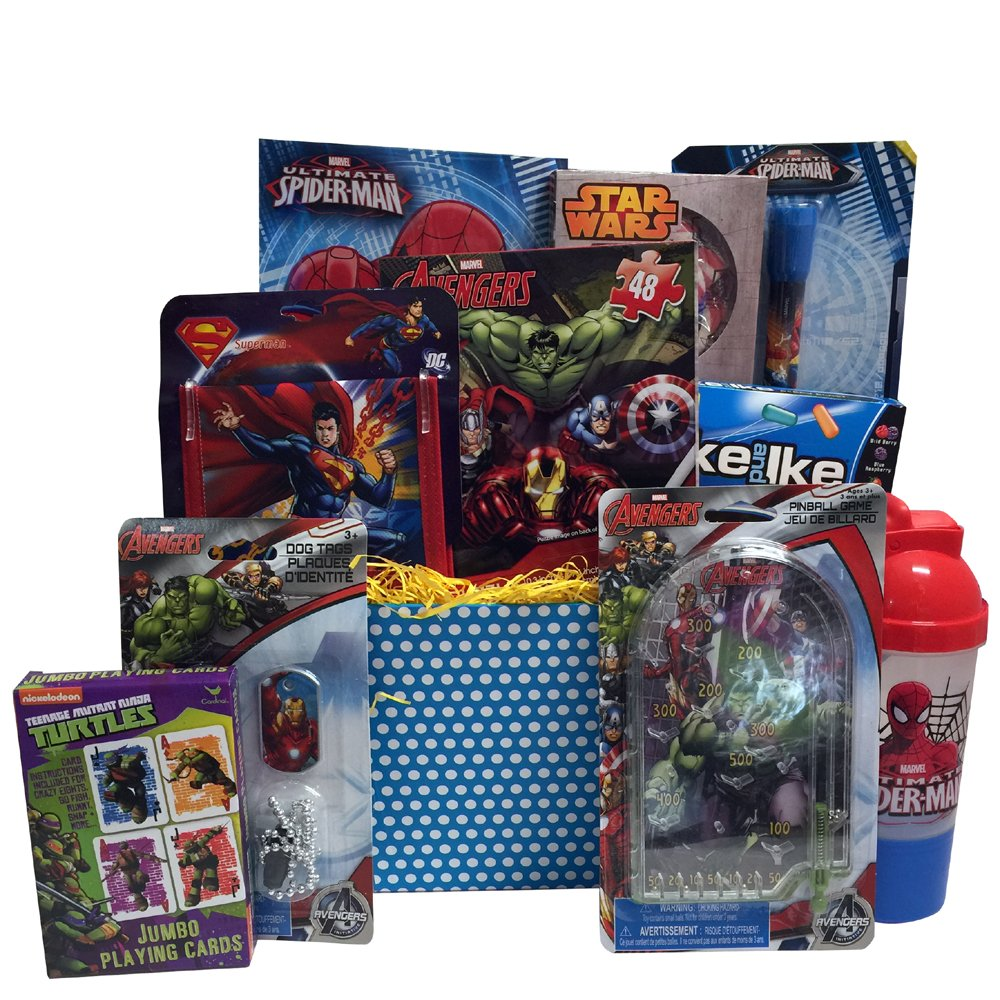 Amazon valentine gift baskets 10 items for kids amazon valentine gift baskets 10 items for kids includes avengers superman spiderman toys playing cards ultimate superhero fun games home negle Choice Image