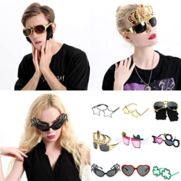d9722d700f Prettyia Glitter Gold Five-point Star Sunglasses Novelty Party Eye Glasses  Costume  Amazon.co.uk  Kitchen   Home