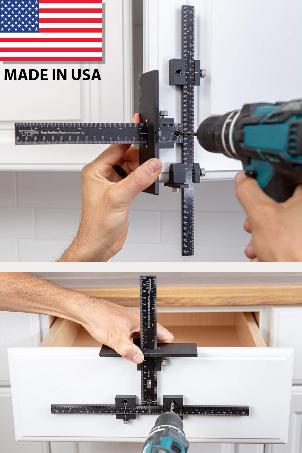 TP-1934 - Cabinet Hardware Jig with Case - Accurate Drawer Knob Pull Drilling - Drill Template for Professional Hardware Mount Installation - Adjustable Door Tool - Made in USA - True Position Tools