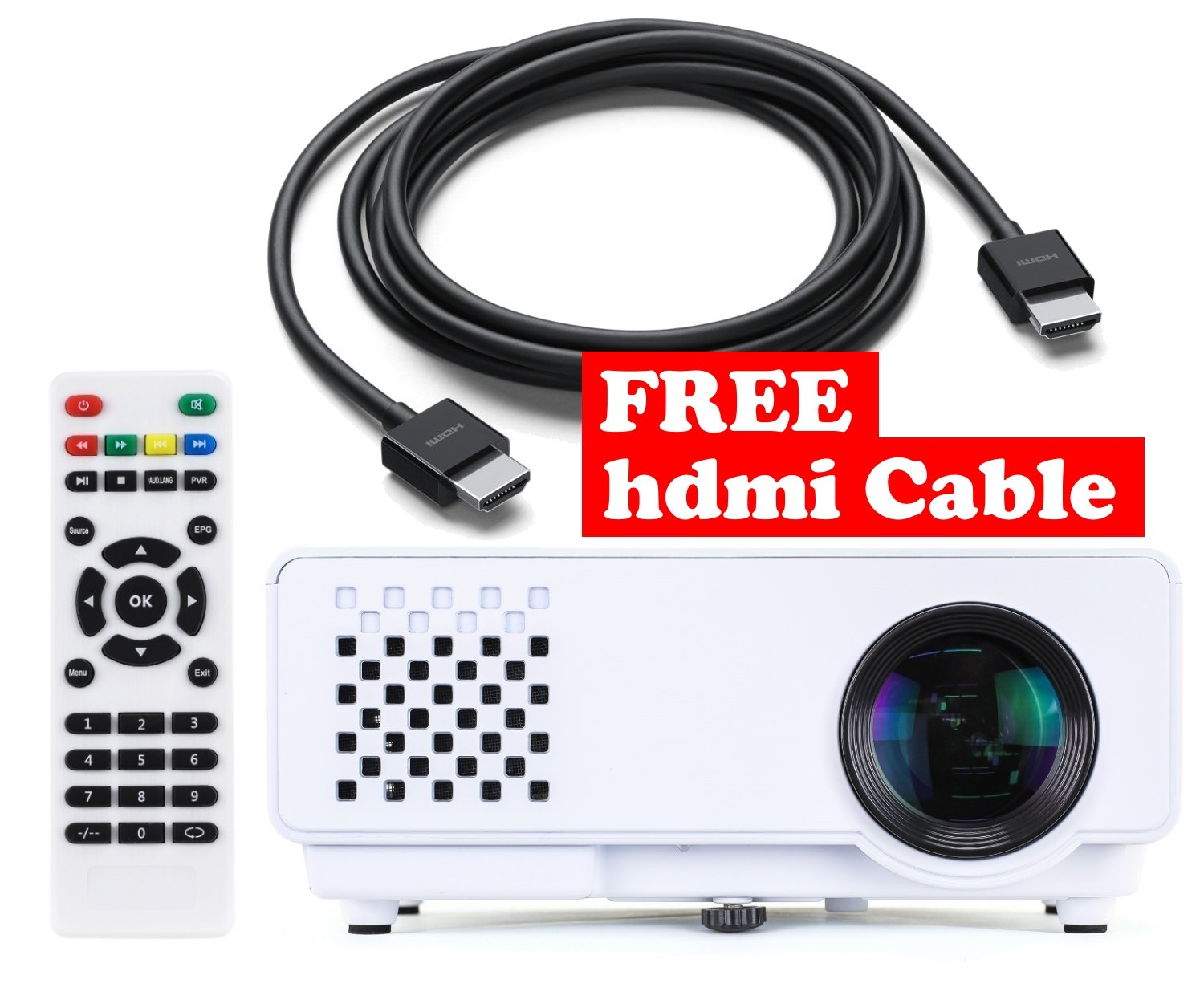 "Mini Projector + FREE HDMI Cable ($7 Value) - With True 1200 Lumens – Remote Included - Connect Macbook, Laptop, PC, PS4, XBOX ONE & More – 20'' to 100"" Display – 1080P - Plug and Play"