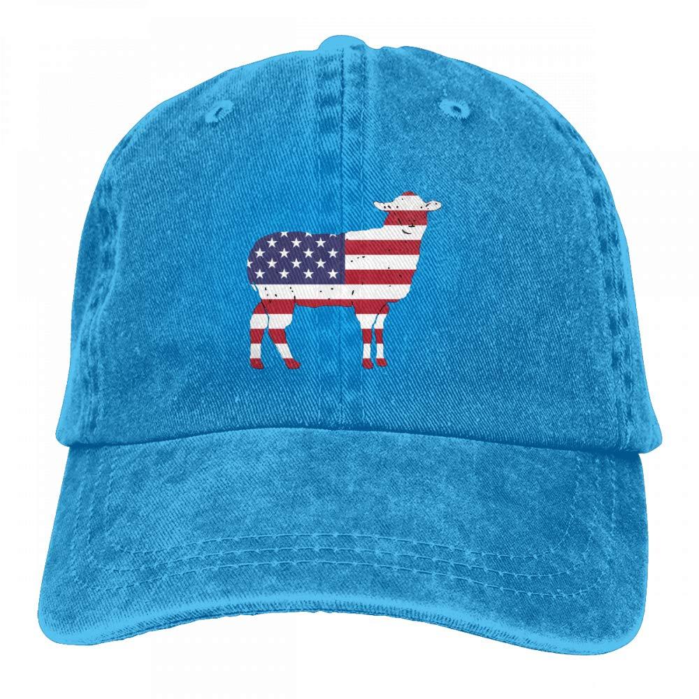 Patriotic Sheep with The US Flag Mens Womens Adjustable Yarn-Dyed Baseball Cap Hip-hop Cap