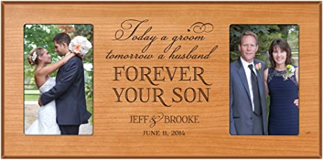 Today a Groom Wedding Thank You Gift from Son Tomorrow a Husband Parents of the Groom Picture Frame Parents of the Groom Gift