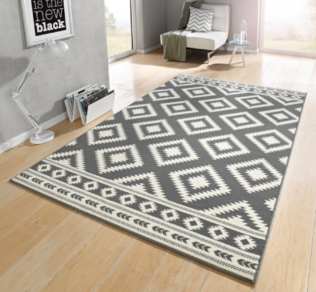 Wohnzimmerteppich grau  Teppich grau / beige / moderner Teppich / Ethno / Raute Muster ...