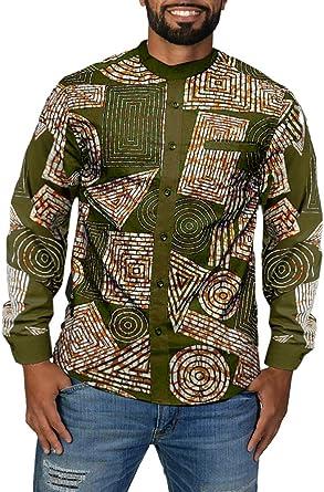 Fueri Camiseta de manga corta para hombre, diseño tribal africano, estampado floral, con botones metálicos, ajustado, informal, Dashiki