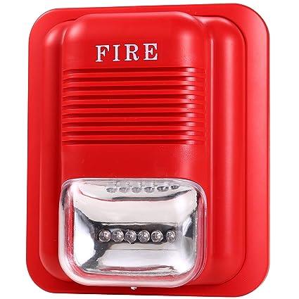 UHPPOTE Sonido y Luz Rojo Aviso de Alarma de Incendio Sensor Detectar Con Alerta de Bocina