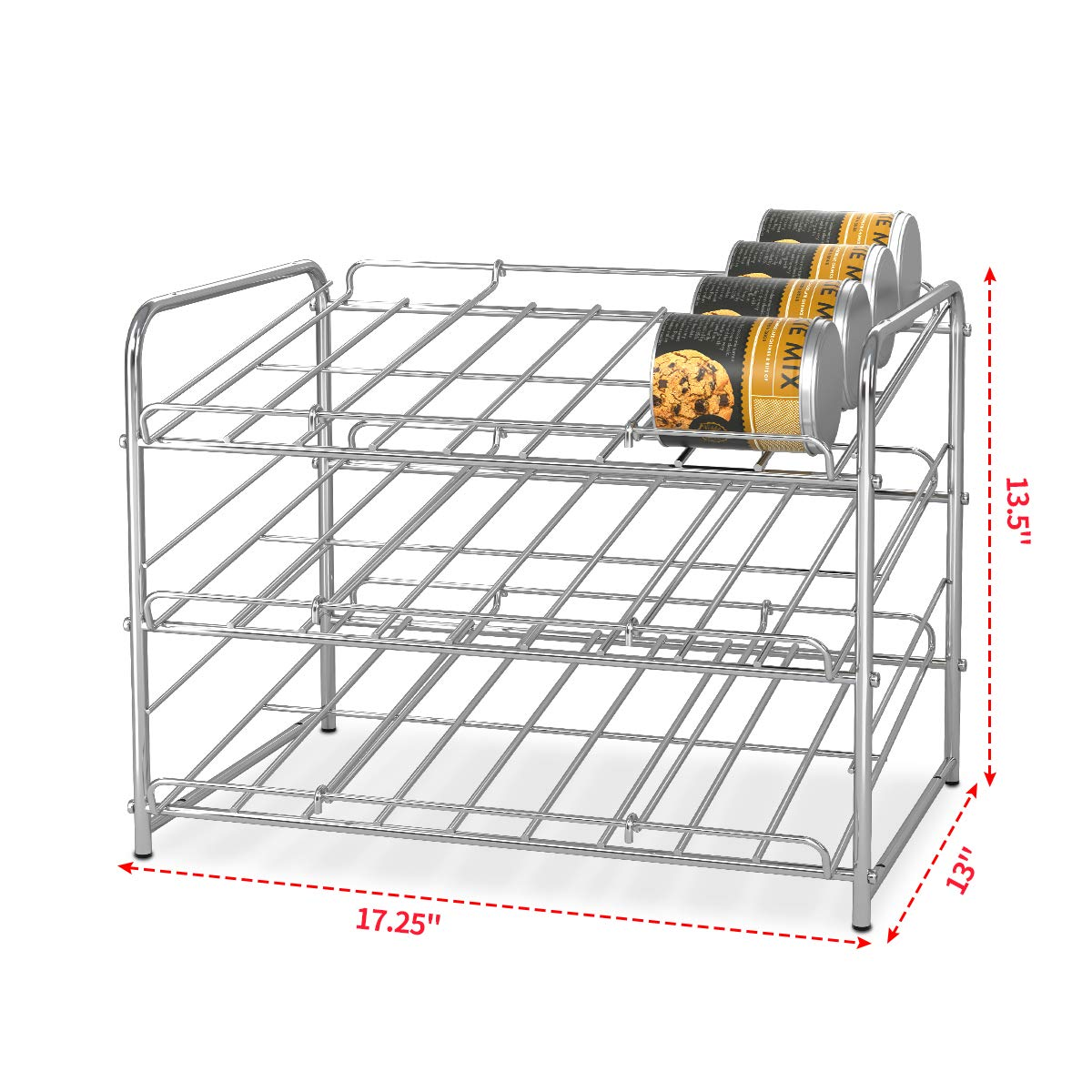 Simple Trending 2 Pack Can Rack Organizer, Stackable Can Storage Dispenser Holds up to 72 Cans for Kitchen Cabinet or Pantry, Chrome by Simple Trending