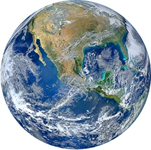 "VWAQ 3D Globe Wall Decal - Earth Vinyl Sticker, Planet Earth Wall Art - PAS26 (14"" Diameter)"
