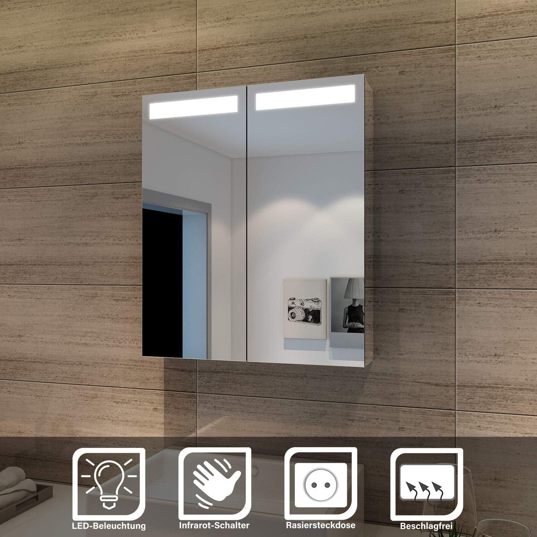 Elegant Spiegelschrank Mit Beleuchtung 60 X 70 Cm Infrarot