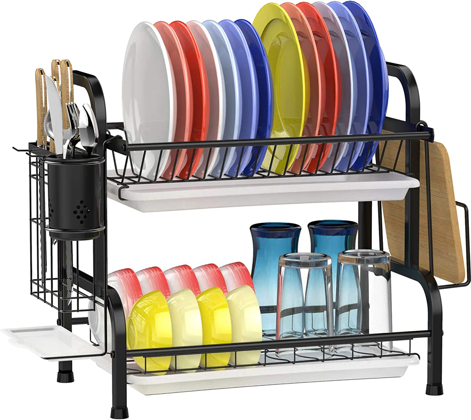 Dish Drying Rack, GSlife Stainless Steel 2 Tier Dish Rack with Drainboard Utensil Holder Dish Drainer for Kitchen Counter, Black