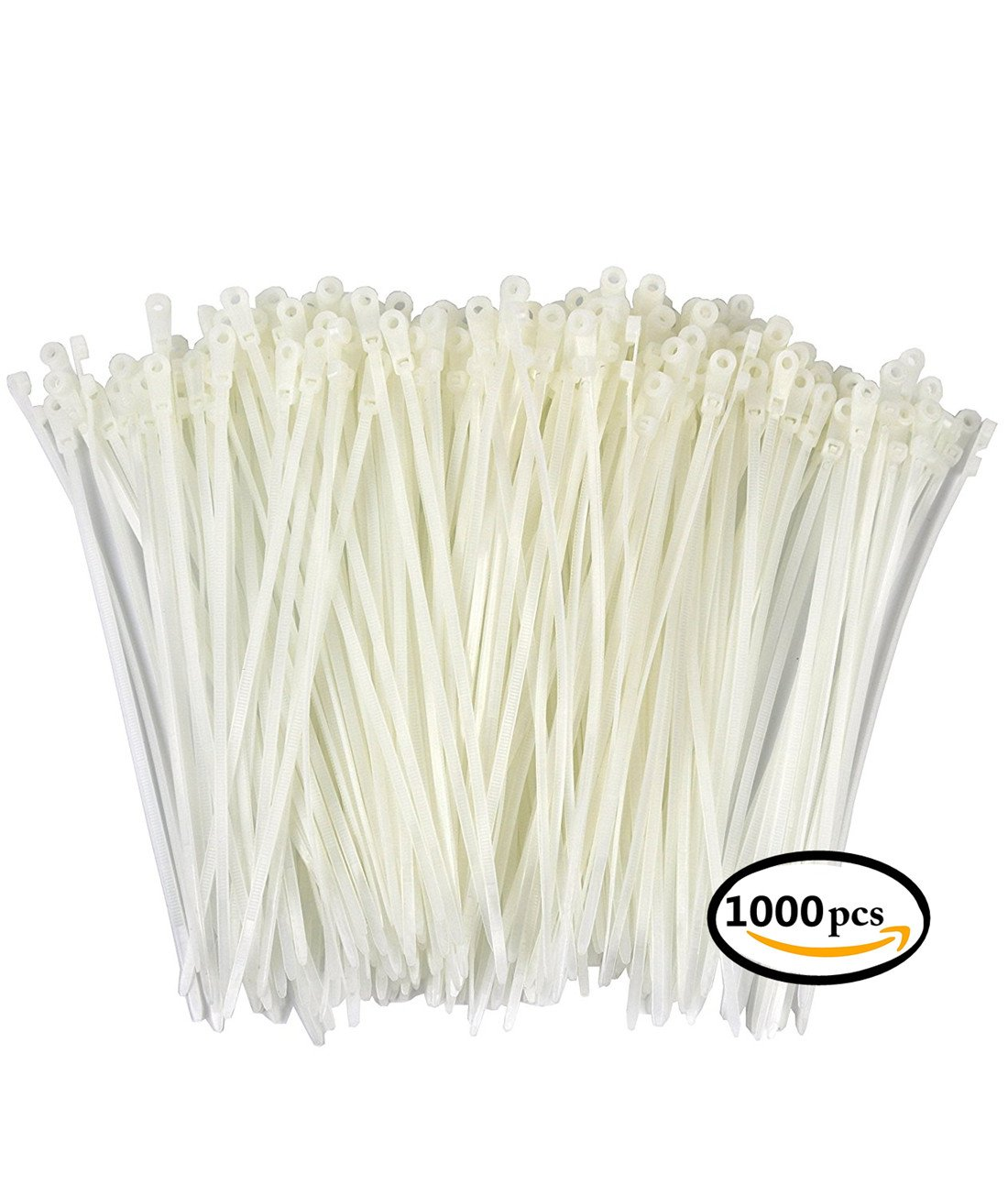 Aibily Durable TIE Nylon Cable Tie Self Locking Zip Ties Strong Cable Tie Wrap 4 Inch Wire Ties Pack of 1000 White