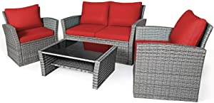 WZZ 4 Piece Outdoor Patio Furniture Set, Wrought Iron Frame Sofa Set, Outdoor Sectional Furniture Chair Set with Cushions and Tea Table (Color : Red)