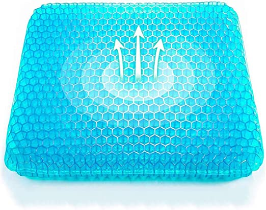 2020 Upgrade Large Size Gel Cushion for Sciatica and Coccyx Pain Relief Office Chair Home Car Wheelchair,Non-Slip Cover Included