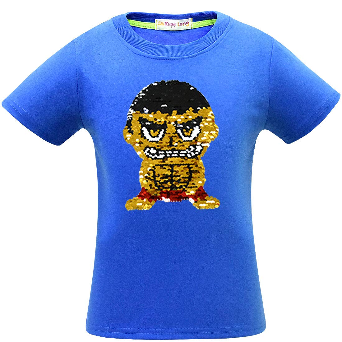 Always beautiful 2019 Summer Boys Cotton Double-Sided Flash Sequin T-Shirt New Kids Short Sleeve