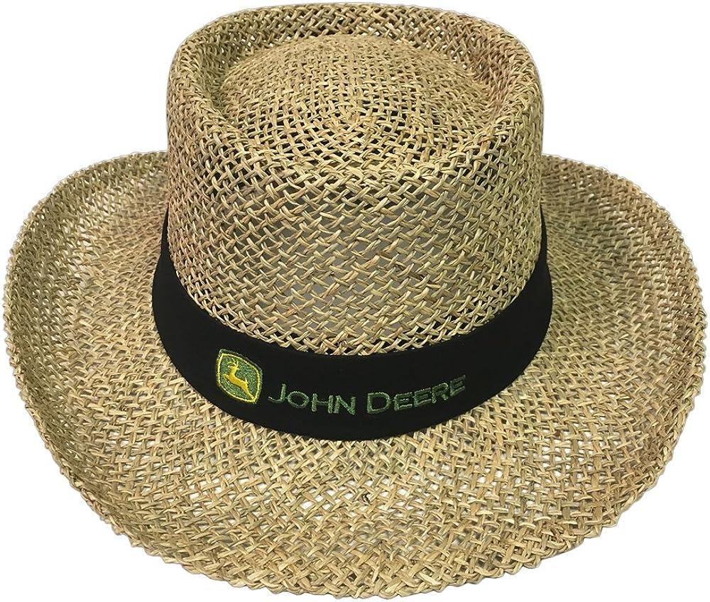 John Deere Brand Gambler Black Straw Hat