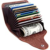 Women RFID Blocking Slim Wallet Genuine Leather Credit Card Holder Minimalist Case Organizer Lady Small Coin Purse Snap Closure
