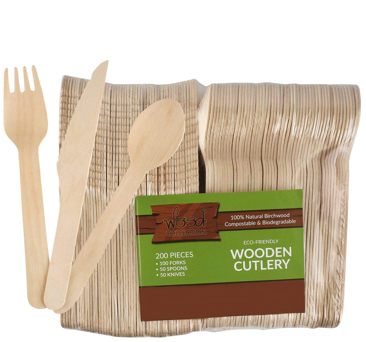 barbecues and More 100 pc Set of 6 Wooden Eco Disposable Forks- 100 Forks Packs are Compostable Biodegradable Recyclable Eco-Friendly Utensils for Parties Weddings picnics