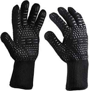 Flacony 932℉ Heat Resistant Oven Mitts, Fireproof BBQ Gloves, Non-Slip Grilling Gloves for Baking,Welding and Cooking(Black 1 Pair)