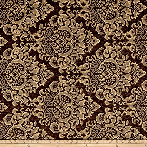 Damask Chenille Jacquard Dark Brown Fabric by The Yard