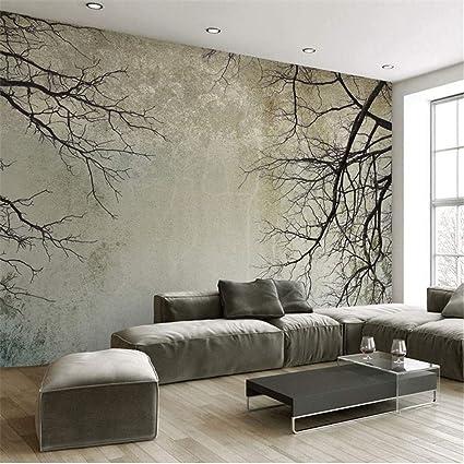 Groovy Xzdxr Retro Living Room Bedroom Wallpaper 3D Tree Branch Interior Design Ideas Clesiryabchikinfo