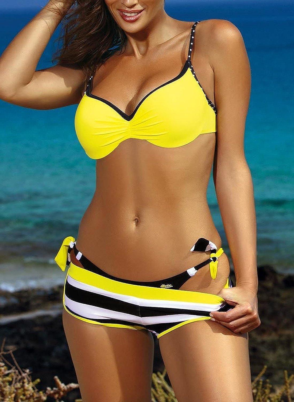 Aleumdr Bikini Set Damen Push up Bademode Badeanzug mit B/ügel Triangel zweiteilig Gebunden Strandmode Bikinioberteil S-XL