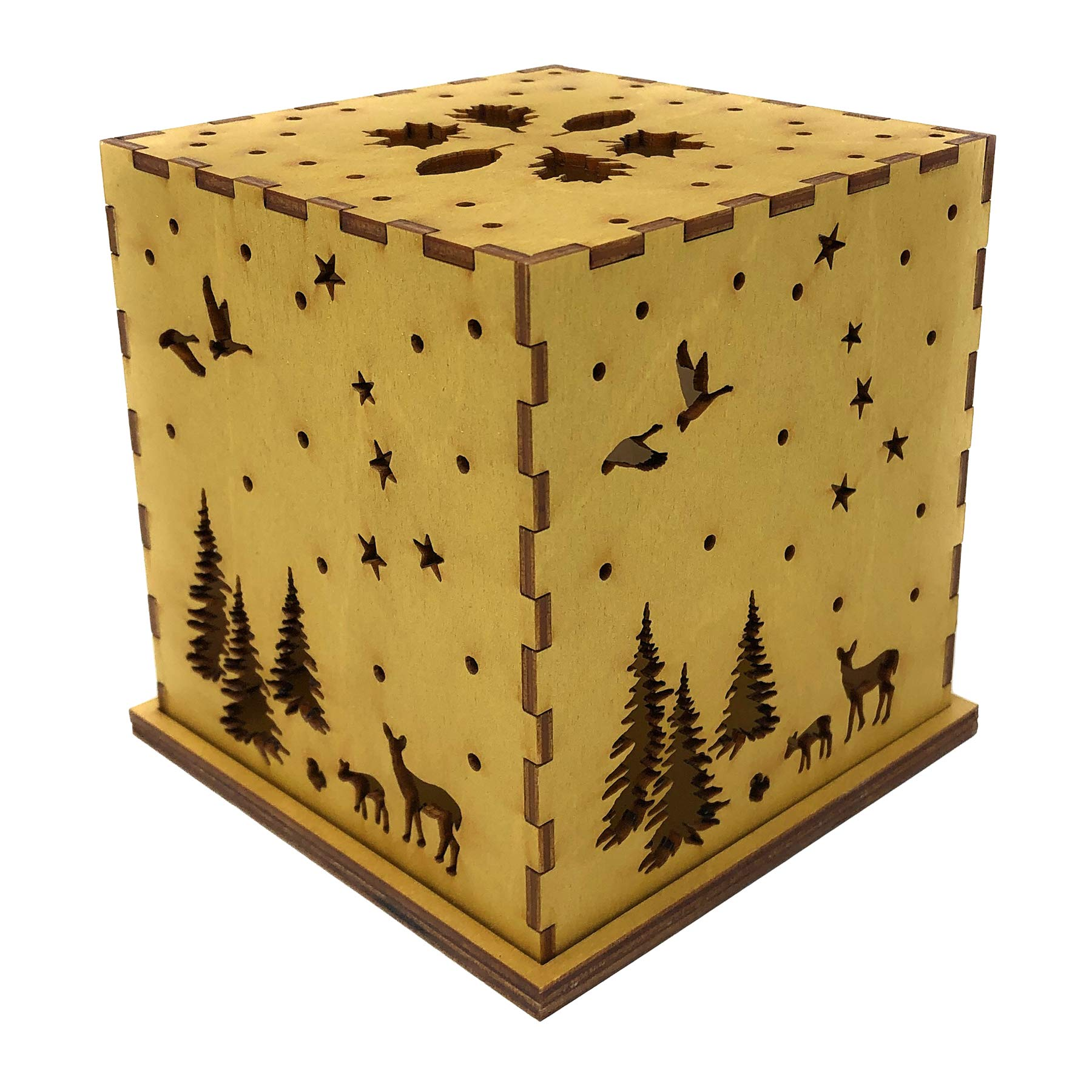 Doles Orchard Woodlands 4.5-inch Laser-Cut Luminary with LED Tealight, Gold