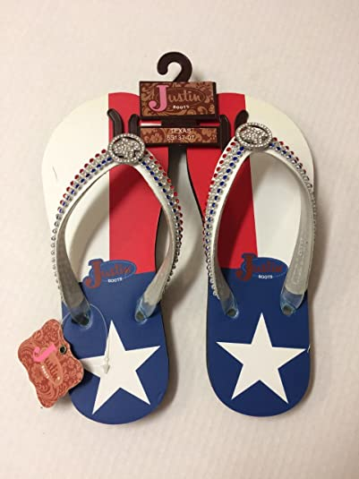 da05a4bd5481 Image Unavailable. Image not available for. Color  Justin Ladies Texas Flip  Flops