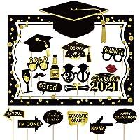 Graduación PhotoBooth Kit de graduación Photo Booth Accesorios y papel para selfie Marco de Oro Negro Felicitación…