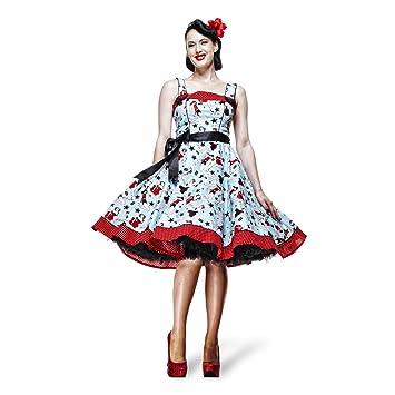Rockabilly - vestido Dixie - Años 50 - Azul y Rojo - S