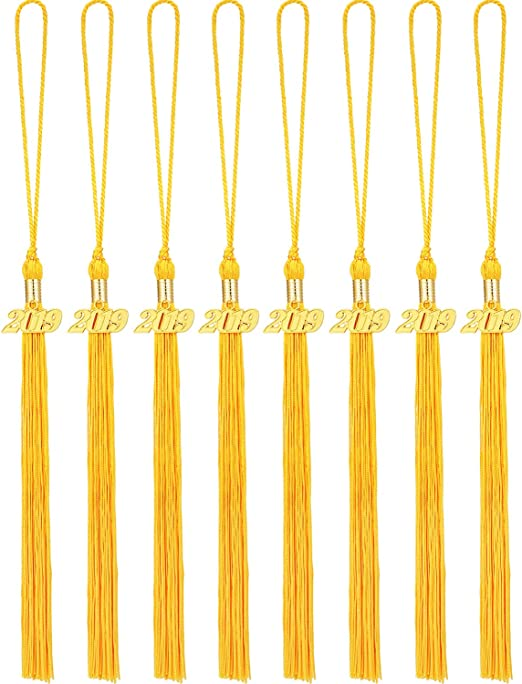 Yellow 3PC 2019 Graduation Hat Tassel Cap Hat Number Hanging Pendent for Adult