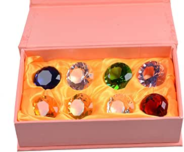 LONGWIN 30mm (1.2 inch) Crystal Diamond Paperweight Pirate Gems Birthstone Table Decorations Christmas Centerpiece Gift for Kids Multicolor Gift Packing