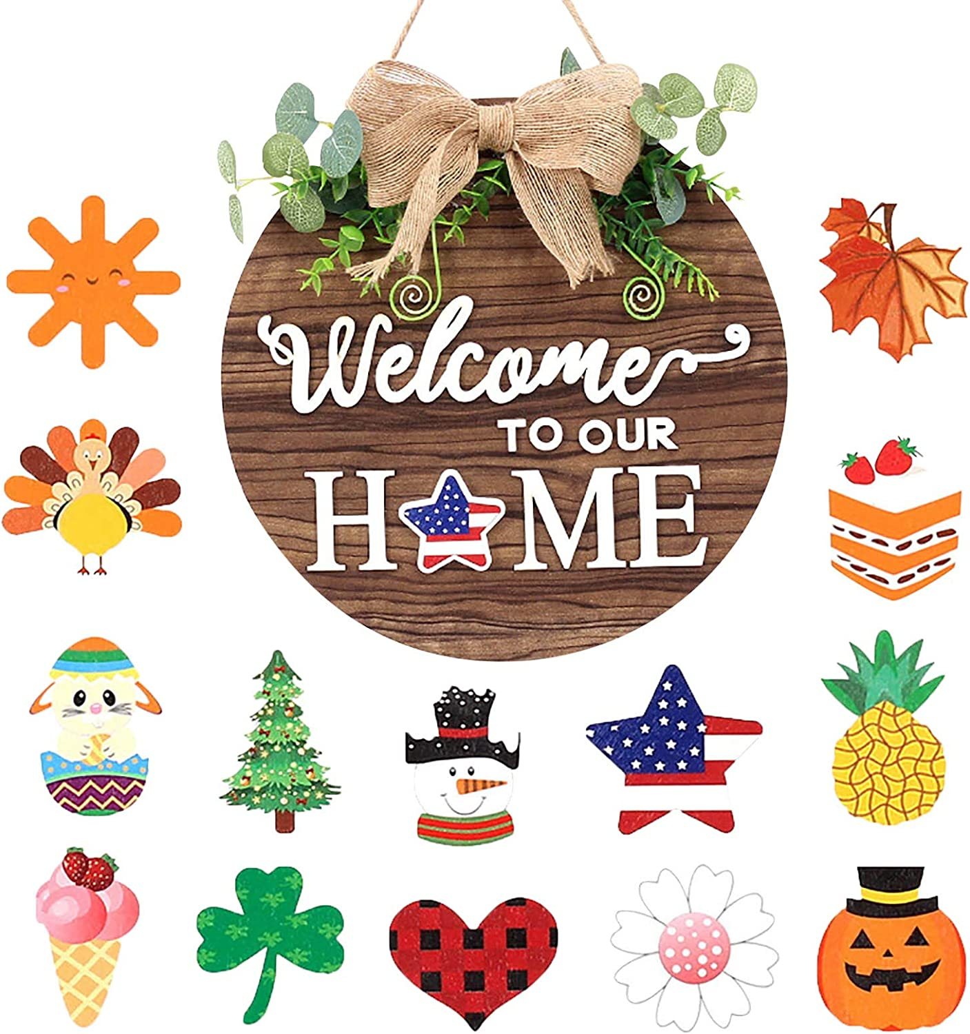 JINRS Interchangeable Welcome Sign for Front Door - Holiday Home Decor Sign with Changeable Icons - Rustic Wooden Door Hangers for Every Season - Farmhouse Front Porch Decor
