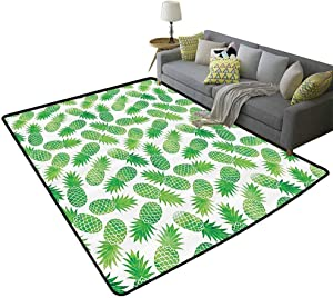 Pineapple Decor Large Area Rugs for Living Room Ombre Watercolor Scattered Pineapples in Different Directions On Plain Pattern Print Easy to Care Green White, 5'x 8'(150x240cm)