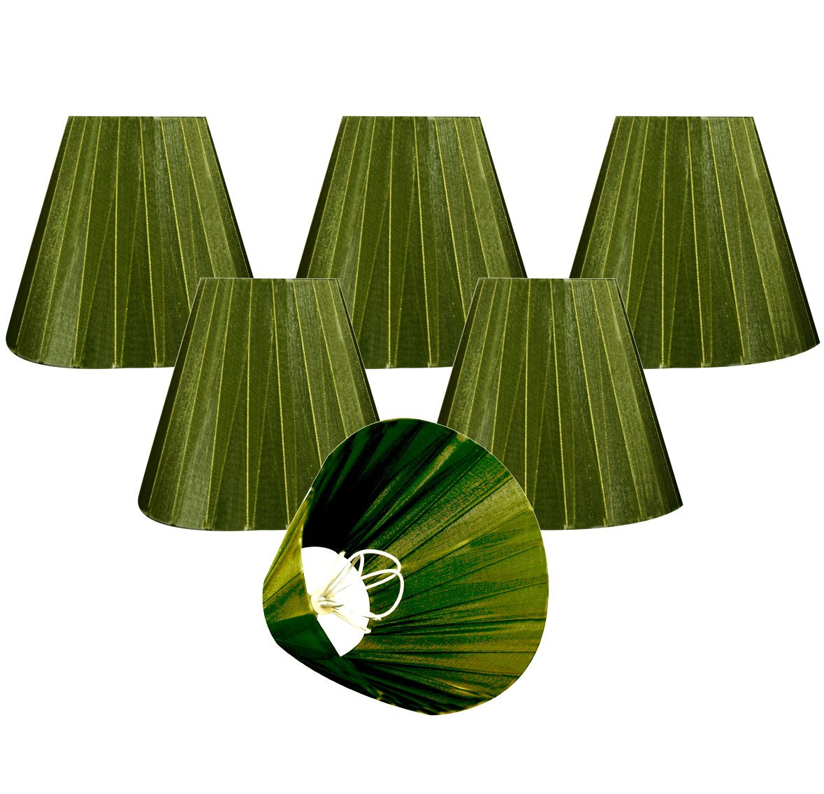 Royal Designs CS-1015-6GRN-6 Clip On Organza Empire Chandelier Lamp Shade, 3'' x 6'' x 4.5'', Emerald Green, Set of 6