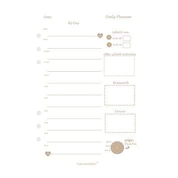 family daily planner filofax compatible inserts for a5 organisers
