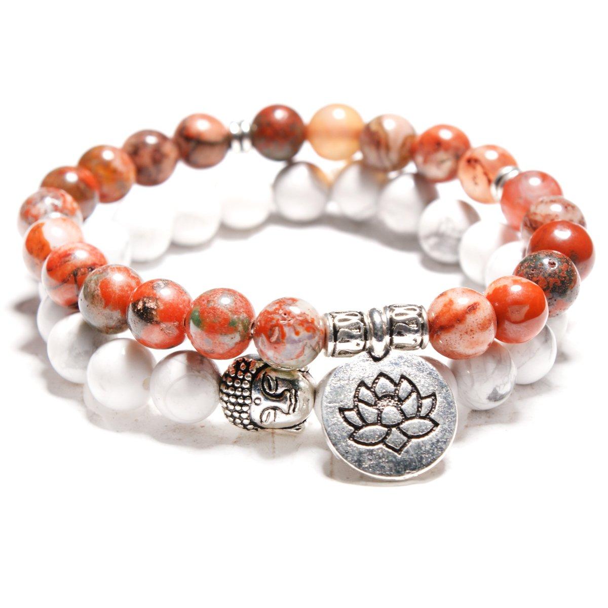Moon Girl 8MM Lotus Buddhist Mala Stone Bracelets Femme Yoga Meditation Wrist Charm Bracelets Women 18ky0105