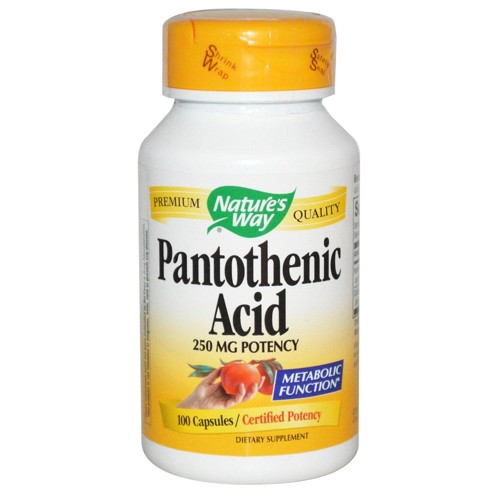 Nature's Way Pantothenic Acid, 100 Capsules (Pack of 2)