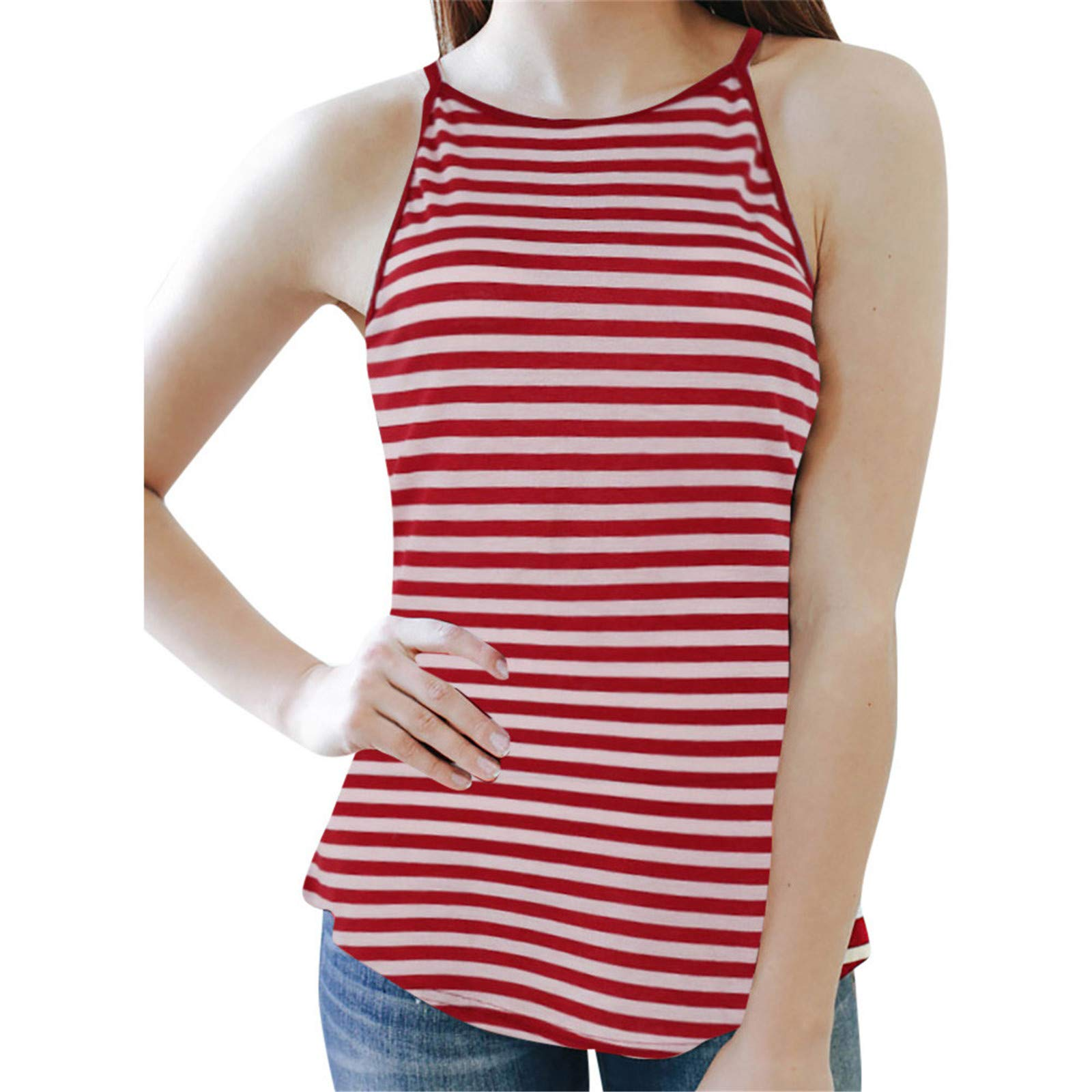 BAOHOKE Summer Sleeveless Striped Vest Blouse Tank Tops Sling T-Shirt Tank Top for Women (Red,M)
