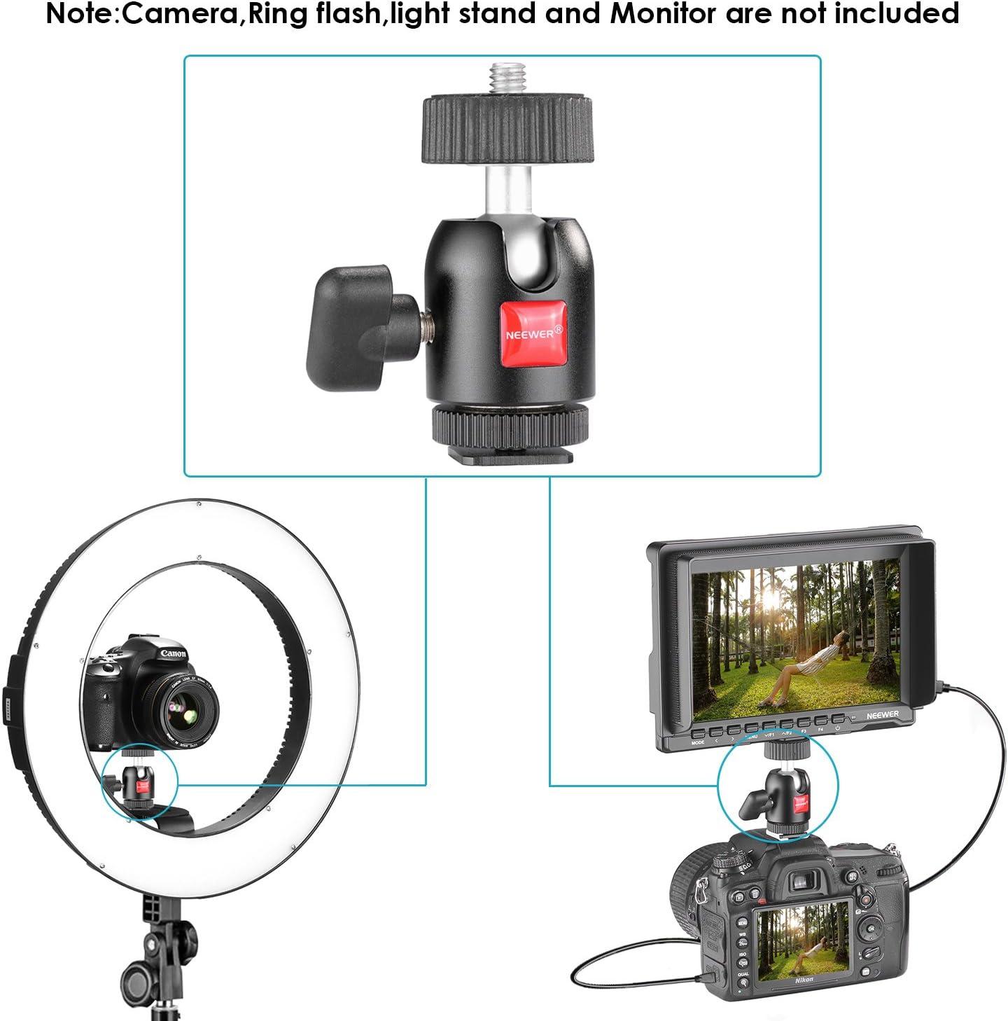 Neewer 1//4 Zoll Stativ Mini-Kugelkopf mit Schloss und Blitzschuh Adapter f/ür LED-Licht DSLR-Kameras Video und Camcorder Monitor